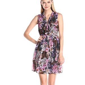 Adrianna Papell Chiffon Floral Tie Neck Dress 16